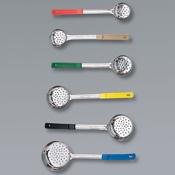 American Metalcraft 8 oz Blue Perforated Spooner - Portion Utensils