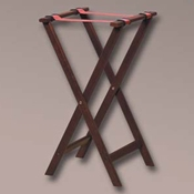 "American Metalcraft 31"" Mahogany Wood Tray Stand - Tray Stands"