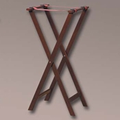 "American Metalcraft 38"" Mahogany Wood Tray Stand - Tray Stands"