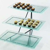 Cal-Mil Wire 3 Tier Display Rectangle With Faux Glass Trays - Display Risers