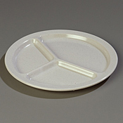 "Carlisle 10"", 3/4""D 3-Compartment Plates - Dinner Plates"
