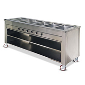Dinex 5-Well Hot Food Counter w/Heat-In-Base - Portable Steam Tables