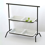 Culinaire Black Rectangular 2 Tier Stand - Display Risers