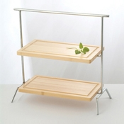 Culinaire Chrome Rectangular 2 Tier Stand - Display Risers