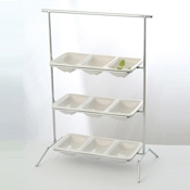 Culinaire Chrome Rectangular 3 Tier Stand - Display Risers