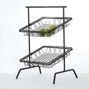 Culinaire Black Square 2 Tier Basket Stand - Display Risers