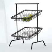 "Culinaire Black 12"" x 3"" Square Basket - Display Risers"