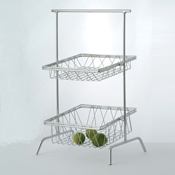 "Culinaire Chrome 12"" x 4"" Square Basket - Display Risers"
