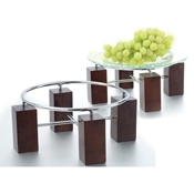 Culinaire Wood Risers with Chrome Ring Set - Display Risers