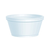 Dart 8 oz Round Extra-Squat Foam Food Containers - Styrofoam Food Containers