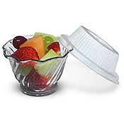 Dinex Disposable Lids for 12 oz Tulip Swirl Bowls - Disposable Serving Bowls & Lids