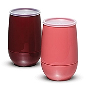 Dinex Translucent Lids with Straw Slot for 6 oz Insulated Juice Cups - Plastic Tumblers
