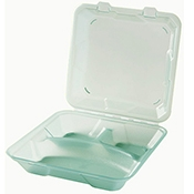 G.E.T. Clear 3-Compartment Eco-Clamshells with Curved Compartments - Reusable Take Out Containers