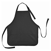 FSE 339 Black Poly / Cotton Blend Bib Apron - Black - Foodservice Essentials