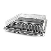 "Fineline Settings 9500-L Platter Pleasers 10.75"" x 10.75"" Sq Dome Lid - Disposable Catering Trays & Lids"
