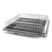 "Fineline Settings 9581-L Platter Pleasers 18"" x 18"" Square Dome Lid - Disposable Catering Trays & Lids"