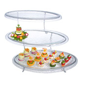 Gourmet Display 3 Level Oval Tier w/Acrylic Platters - Display Risers