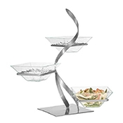 Gourmet Display GL1330 Ribbon Tier with Acrylic Diamond Bowls - Display Risers