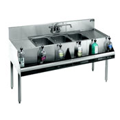 Krowne 18-53C Standard 1800 Series Underbar Three Compartment Sink Unit