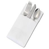 Dinex White Pocket-Fold Paper Dinner Napkins - Dinex