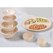 "Thunder Group Ns702T Nustone Tan 3-Compartment Plates 10"" Dia. - Dinner Plates"
