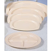 "Thunder Group Ns703T Nustone Tan 3-Compartment Plates 10-1/4"" Dia. - Dinner Plates"