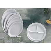 "Thunder Group Ns703W Nustone White 3-Compartment Plates 10-1/4"" Dia. - Dinner Plates"