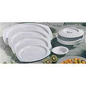 Thunder Group Ns608-1W Nustone White Deep Divided Servers With Lids - Dinner Plates