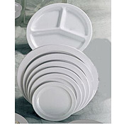 "Thunder Group Ns105W Nustone White Round Plates 5-1/2"" Dia. - Dinner Plates"