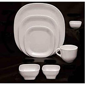 "Thunder Group Ps3008W Passion White Round Square Plate 8-1/4"" - Dinner Plates"