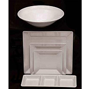 "Thunder Group Ps3208W Passion White Square Plate 8-1/4"" - Dinner Plates"