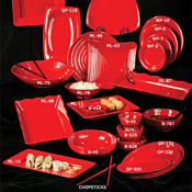 "G.E.T. Red Sensation Servingware 9-3/4"" x 7-1/4"" Oval Platters - Servingware"