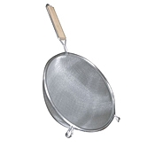 "Economy Stainless Steel Medium Double Mesh 10"" Strainer - Skimmers and Strainers"