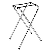 Economy Chrome-Plated Single-Bar Service Tray Stand - Tray Stands