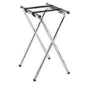 Economy Chrome-Plated Double-Bar Service Tray Stand - Tray Stands