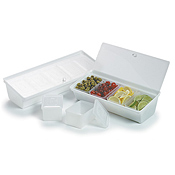 Carlisle SS10402 Condiment Caddy with 4 Containers and Lids - Carlisle