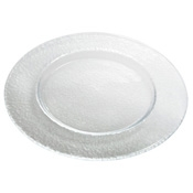 "Service Ideas 12.5"" Pebbled Pattern Tuscany Glass Plate - Dinner Plates"