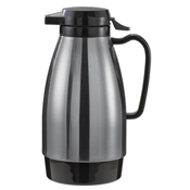 Service Ideas 1L Push Button Stainless and Black Carafe - Coffee Carafes and Servers