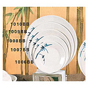 "Thunder Group 1009Bb Blue Bamboo Melamine 9-1/3"" Round Plates - Dinner Plates"