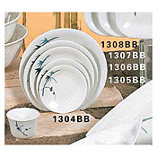 "Thunder Group 1304Bb Blue Bamboo Melamine 4-3/4"" Round Dinner Plates - Dinner Plates"