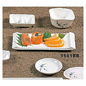 "Thunder Group 1501Bb Blue Bamboo Melamine 8-1/2"" X 3-3/4"" Serving Plate - Dinner Plates"