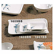 "Thunder Group 1608Bb Blue Bamboo Melamine 5-2/3"" X 4"" Wave Shape Bbq Plates - Dinner Plates"