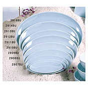 "Thunder Group 2913 Blue Jade Melamine 13-3/4"" X 9-1/2"" Oval Plates - Dinner Plates"