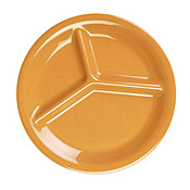 "Thunder Group Cr710Yw Yellow Melamine Yellow 10-1/4"" 3-Compartment Plates - Dinner Plates"