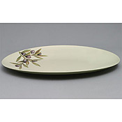 "Thunder Group LC211GR Laurel Melamine 11"" x 8-1/4"" Oval Platter - Servingware"