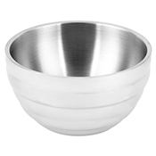 Vollrath 4658750 24 oz. Stainless Steel Double Wall Pearl White Round Beehive Serving Bowl - Vollrath
