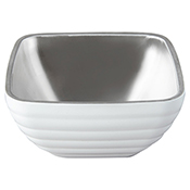 Vollrath 4761950 24 oz. Stainless Steel Double Wall Pearl White Square Beehive Serving Bowl - Vollrath