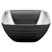 Vollrath 4761960 24 oz. Double Wall Black Square Beehive Serving Bowl - Vollrath
