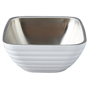 Vollrath 4763250 Double Wall Square Beehive 1.8 Qt. Serving Bowl - Pearl White - Vollrath
