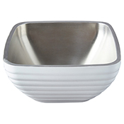 Vollrath 4763550 Double Wall Square Beehive 5.2 Qt. Serving Bowl - Pearl White - Vollrath
